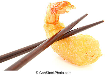 Chopsticks and Tempura Shrimp - Pair of brown chopsticks...