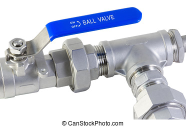 plumbing valve with a blue pen isolated