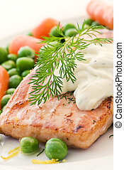 Salmon with vegetable