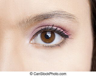 Eye Makeup - Close-up of a beautiful female eye with makeup