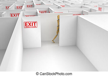 Complicated way out - Mannequin following exit signs out of...