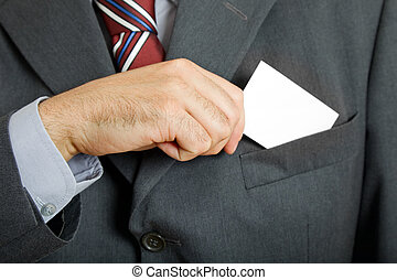 business card - hand of business man with business card