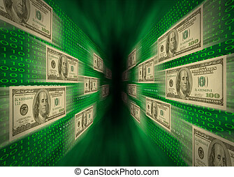 $100 bills flying through a green vortex, with walls of...