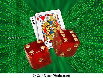 juego, tarjetas, y, rojo, dados, vuelo, a través de,...