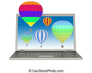 Laptop and 3D balloons