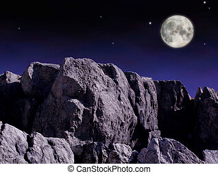 Moon over cliffs in the evening