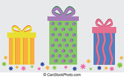 Party Presents - Happy birthday party presents with confetti