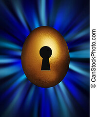 Golden egg with keyhole in a blue vortex - Golden egg with...