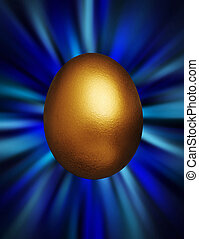 Golden egg in a blue vortex - Golden egg against a blue...