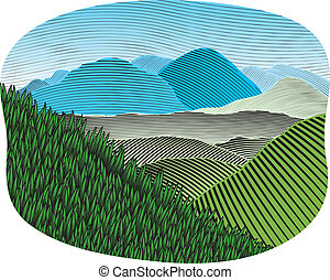 Woodcut Mountain Landscape Color