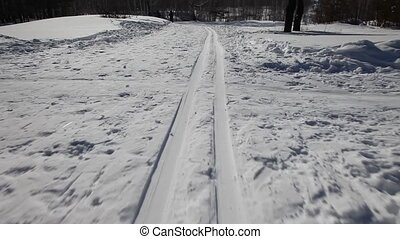Skiing - The camcorder is moving rapidly along with the...