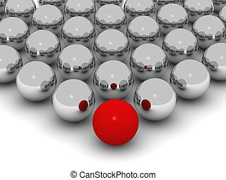 a red ball in front of an array of big shiny balls