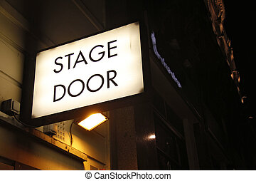 Stage door sign - Illuminated sign at theatre in London's...