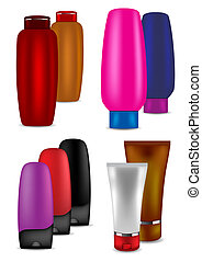 Shampoo, conditioner, talc and cream - vector illustration