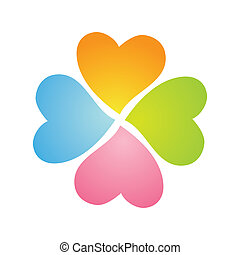 shamrock-heart - four-flower clover from the hearts on a...