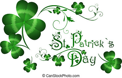 StPatrick day greeting with shamrocks