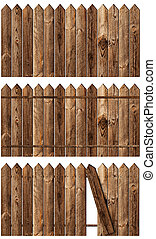 wooden fences set - set of wooden fences over the white...