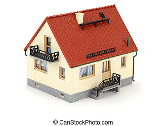Model house with tiled roof. Isolated on white background.