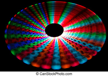 Colorful glowing trail rotating LED, in form of a disc...