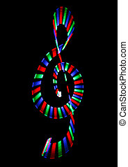 Multi-coloured shone treble clef on black background Musical...
