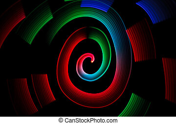 Abstract multicolored glowing in spiral pattern on black...
