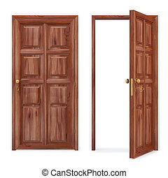 door - open and closed wooden doors. isolated on white. with...
