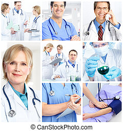 Doctors - Medical doctors and a woman patient.