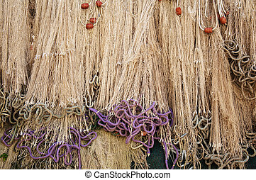 Fishing nets with puple ropes - Fishing nets with puple and...