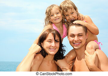 madre, padre, agua, dos, poco, niñas, Sentado, su,...