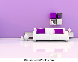Interior of the modern room, purple wall and white sofa
