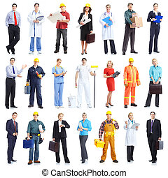 workers people - Large group of smiling workers people...
