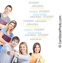 Students - group of smiling students Isolated over white...