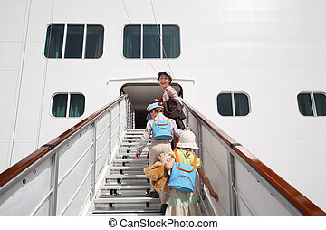 little girl and boy with mother enter in large white passenger liner summer day