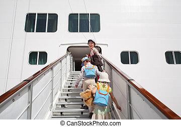 peu, girl, Garçon, mère, entrer, grand, blanc, passager,...