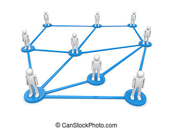 Social network concept. People standing on pedestals...