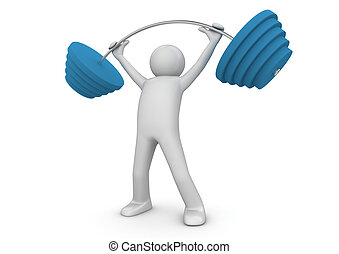 Weightlifter with barbell - Isolated One of a 1000 series...