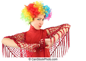 portrait of young attractive woman in clown wig and red shawl, half body, isolated on white