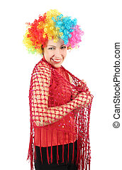 portrait of young smiling woman in clown wig and red shawl, half body, isolated on white