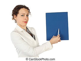 young beauty woman in business dress, pointing on blue...