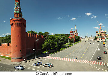 view on saint Basil cathedral and Kremlin in Moscow, Russia summer day view from above