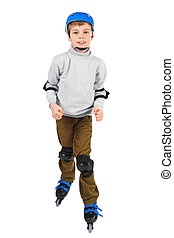 little boy in blue helmet smiling and rollerblading isolated on white