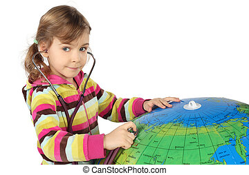 little girl with stethoscope and big inflatable globe, looking at camera, horizontal