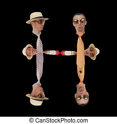 Letter H. - Fashionable letter H of neckties, hats and men...