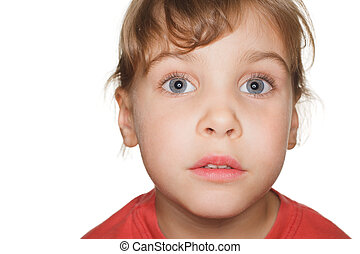 portrait small child in a red t-shirt photography studio,...