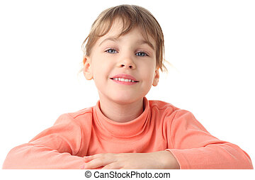 portrait of cute smiling little girl in thin sweater, half body, isolated on white