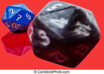 Rolling dice - spinning dice crashing into a second dice