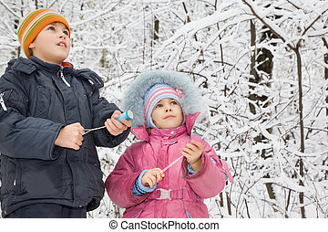 cheerful boy and little girl with petard in hands in winter...