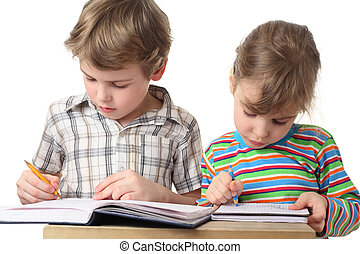 little caucasian boy and girl are painting in notebooks, half body, isolated on white