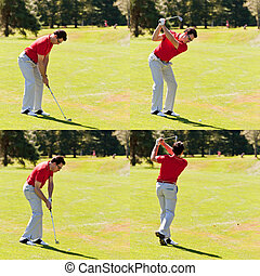 Golfer swing sequence - Sequence of a golfer hitting a...