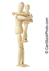 wooden figure of parent holding and embracing his child,...